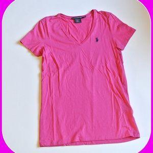 Ralph Lauren Sport V-Neck Tee Top Shirt Pink